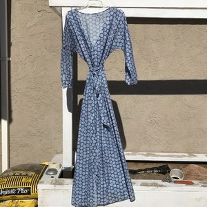 Long maxi wrap dress w/belt and front slit
